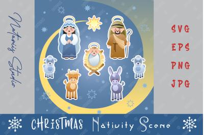 Christmas Nativity Scene with Holy Family.