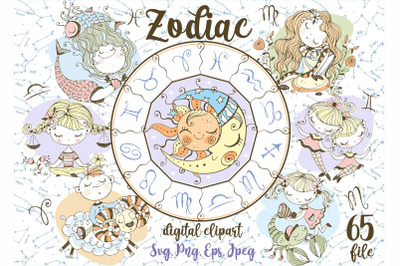 Zodiac kids Svg Png Digital clipart in cute Doodle style.