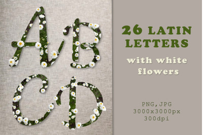 26 latin letters with white flowers