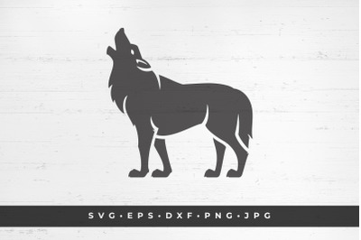 Howling wolf vector illustration. SVG, PNG, DXF, Eps, Jpeg / Cut Files
