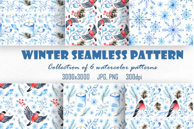 Winter watercolor seamless pattern collection.
