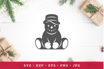 Cute snowman sitting vector illustration. SVG, PNG, DXF, Eps, Jpeg / C