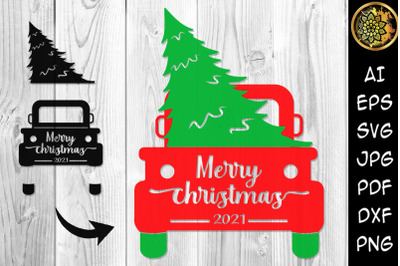 Merry Christmas 2021 Tree and Truck SVG Clipart
