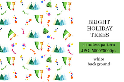 Bright winter holidays pattern with fir trees
