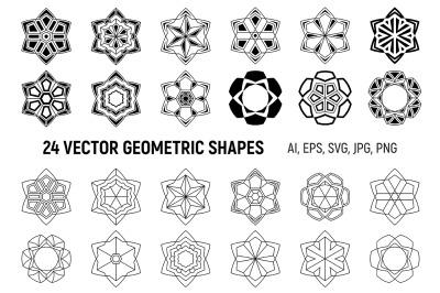 Symmetric geometric shapes, snowflakes, design elements.