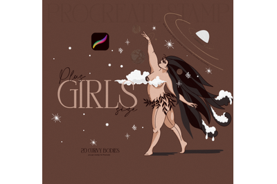 Girls Plus Size, Curly Bodies, Women Poses, Stamp for Procreate