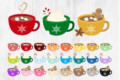 Hot Chocolate Mugs Clipart, Hot Cocoa Mugs Clipart, Winter Cups, C