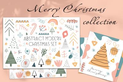 Abstract hand drawing Christmas set