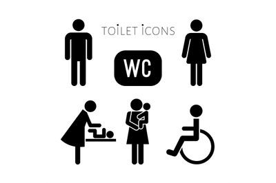 Lavatory black icons set