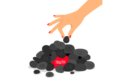 Truth and lie concept vector illustration