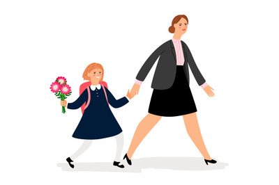 Woman and girl going to school