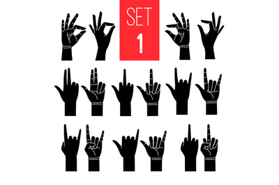 Woman hands gestures black icons