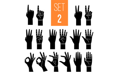 Woman hands showing gesture glyph icons set