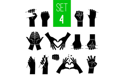 Woman hands showing gestures black illustrations set