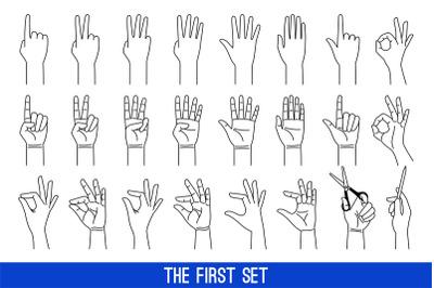 Woman hands gestures outline