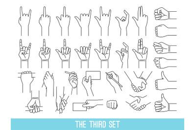 Hands showing gestures outline illustrations set
