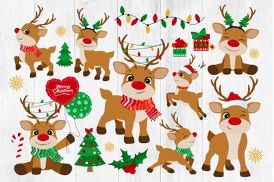 Christmas Reindeer Clipart, Reindeer Clipart, Christmas Clipart, PNG
