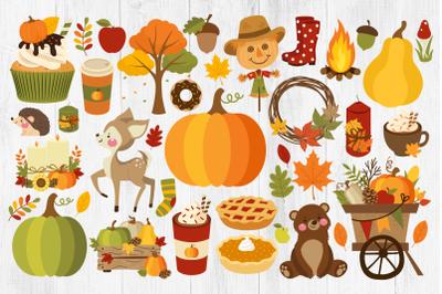 Fall Clipart, Autumn Clipart, Pumpkins, Fall, Leaves, PNG