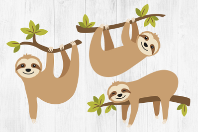 Sloth Clipart, Sloth SVGs, Cute Sloths, DXF, EPS, PNG