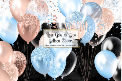 Rose Gold and Blue Balloons Clipart