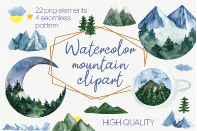 Mountain clipart and landscape clipart. Hand drawn mountain PNG watercolor clipart