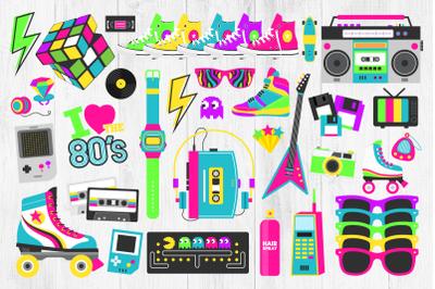 80s Clipart, Eighties Clipart, Retro, 80s, Roller Skates, Neon 80s