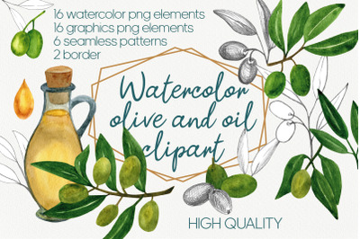 Watercolor olive branch and greenery clipart