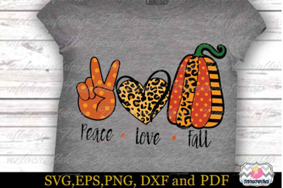 Peace Love Fall SVG, Fall SVG, Thanksgiving SVG,Pumpkin SVG,Autumn SVG