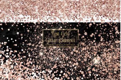 Rose Gold Glitter Elements