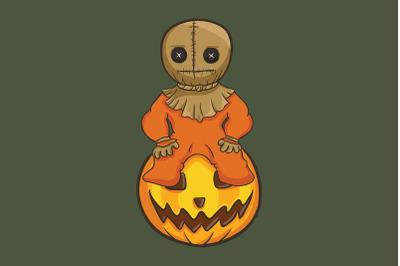 Halloween with pumpkin and voodoo doll