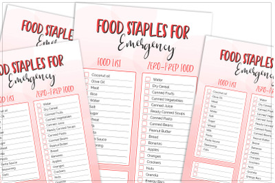 Food Staples for Emergency Printable