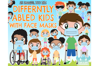 Differently Abled/Disabled Kids with Face Masks Clipart - Lime and Kiw