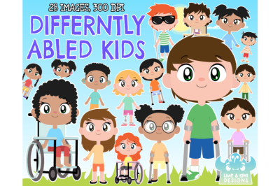 Differently Abled/Disabled Kids Clipart - Lime and Kiwi Designs