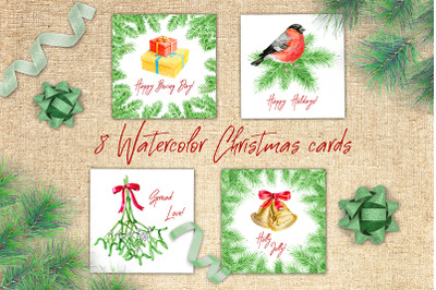 8 watercolor Christmas cards