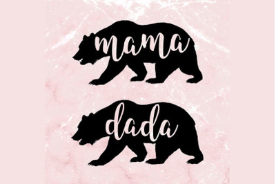 Mama And Dada Bear SVG Cut Files