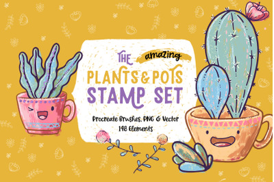 Plants & Pots Stamp Set for Procreate