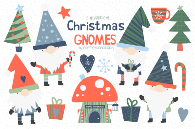 Christmas Gnomes clipart set