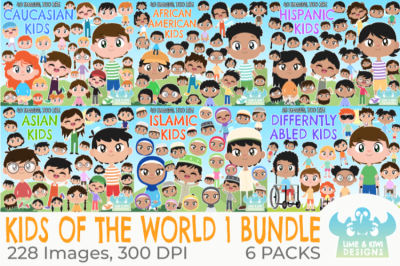 Kids of the World 1 Clipart Bundle - Lime and Kiwi Designs