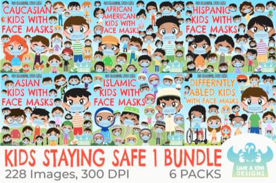 Kids Staying Safe 1 Clipart Bundle - Lime and Kiwi Designs