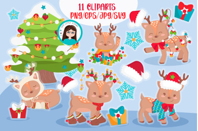 Chritmas deers cliparts