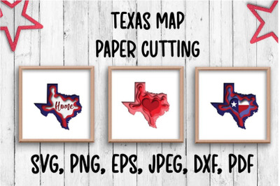 Texas map. Paper cutting.