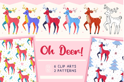 Cartoon deers. Christmas clip art.
