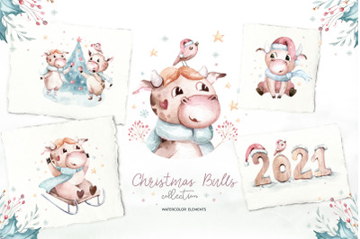 Christmas cute bulls collection!