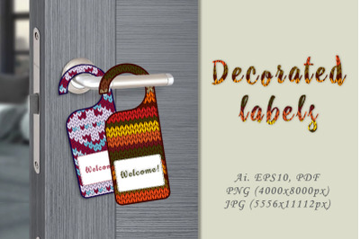 Decorative labels with hand-knitted imitation