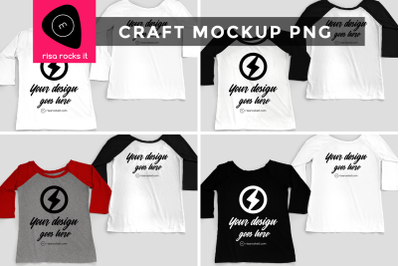 Raglan Tee Front and Back | PNG Mock Up