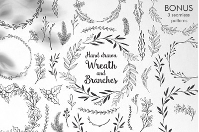 Hand drawn wreath, branches.