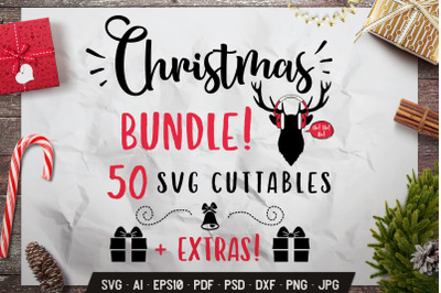 50 Christmas SVG Bundle Quotes + Extras