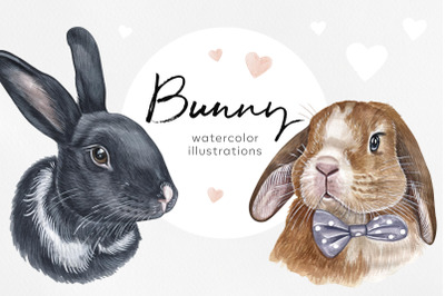 Watercolor set cute animal illustrations. 8 bunny and rabbit