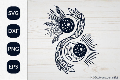 Magic Crescent moon and sun svg, Yin yang Svg for kids design