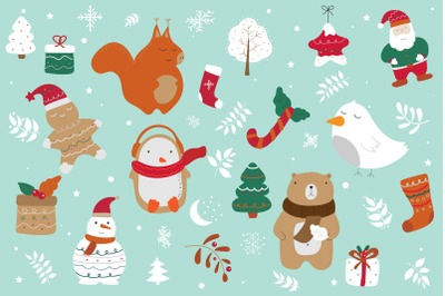 Christmas collection with cute animals, snowman, penguin, squirrel, gi